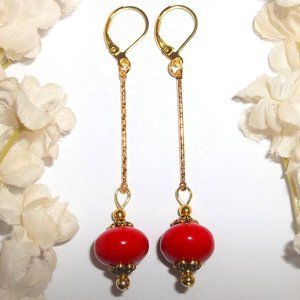 Earrings Set Long Red & Gold Sexy Jewelry NWT 6388